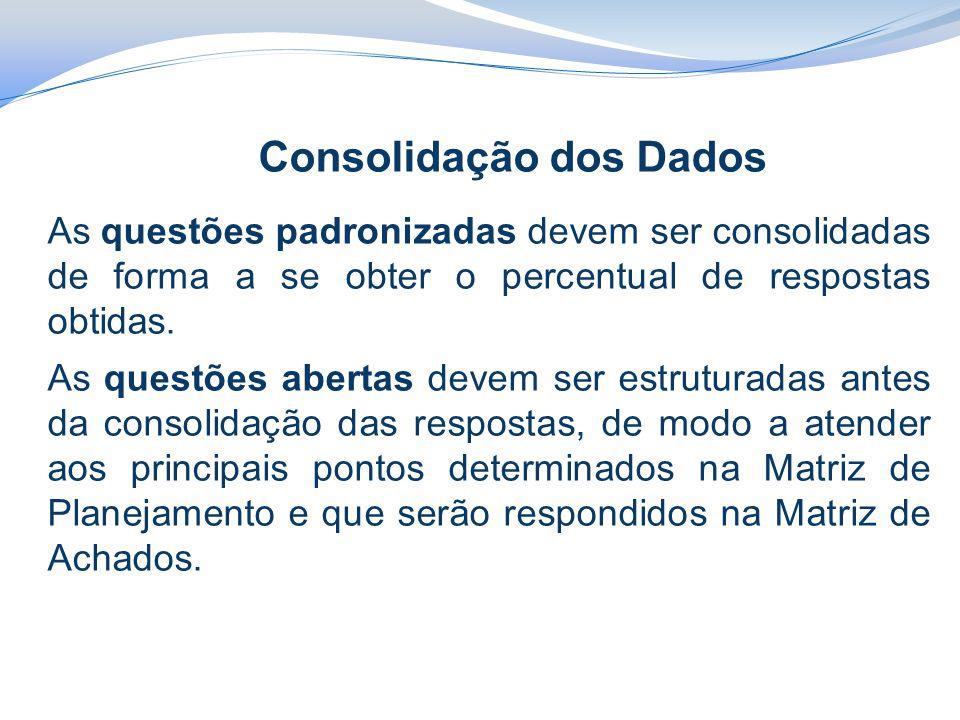 Consolidação dos Dados As questões padronizadas devem ser consolidadas de forma a se obter o percentual de respostas obtidas. As questões abertas deve