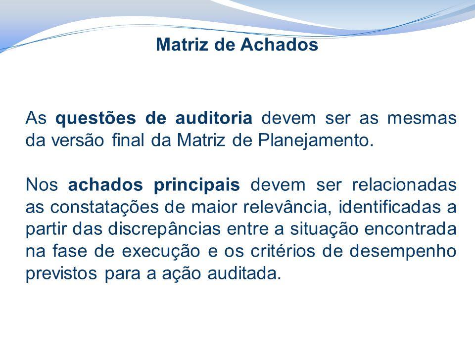 Matriz de Achados As questões de auditoria devem ser as mesmas da versão final da Matriz de Planejamento. Nos achados principais devem ser relacionada