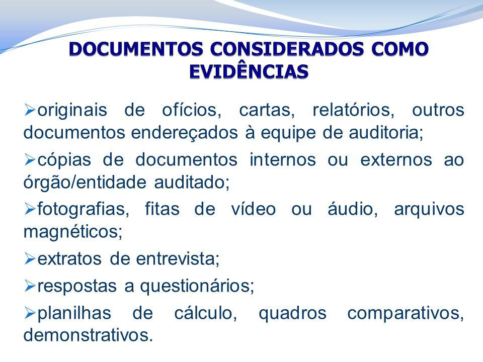  originais de ofícios, cartas, relatórios, outros documentos endereçados à equipe de auditoria;  cópias de documentos internos ou externos ao órgão/