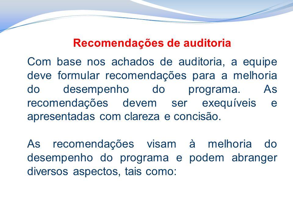Recomendações de auditoria Com base nos achados de auditoria, a equipe deve formular recomendações para a melhoria do desempenho do programa.