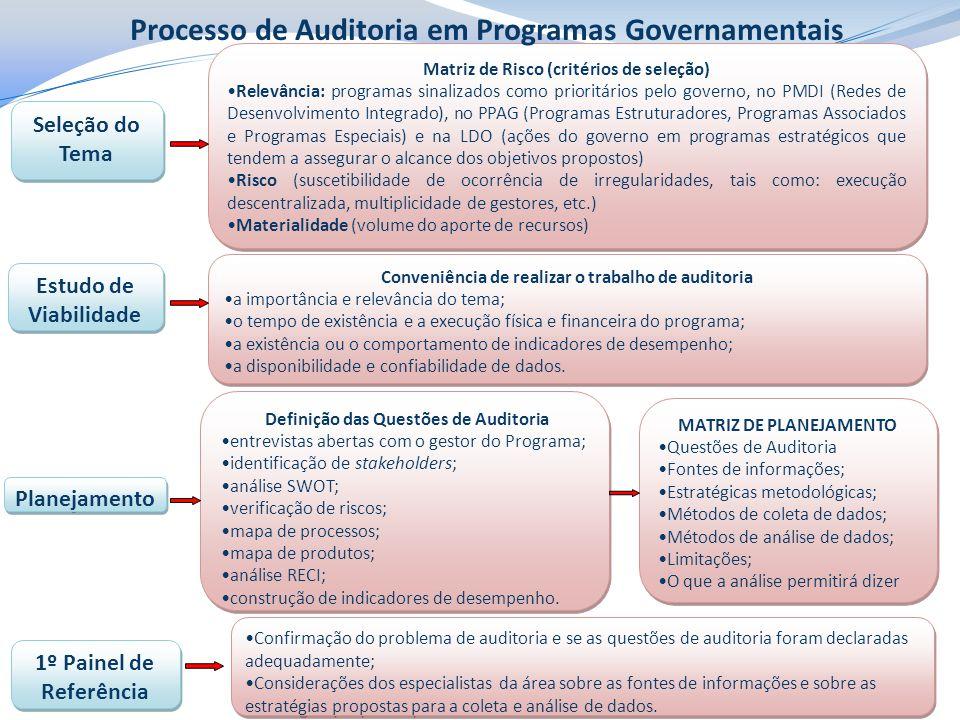 Seleção do Tema Estudo de Viabilidade Planejamento Matriz de Risco (critérios de seleção) Relevância: programas sinalizados como prioritários pelo governo, no PMDI (Redes de Desenvolvimento Integrado), no PPAG (Programas Estruturadores, Programas Associados e Programas Especiais) e na LDO (ações do governo em programas estratégicos que tendem a assegurar o alcance dos objetivos propostos) Risco (suscetibilidade de ocorrência de irregularidades, tais como: execução descentralizada, multiplicidade de gestores, etc.) Materialidade (volume do aporte de recursos) Matriz de Risco (critérios de seleção) Relevância: programas sinalizados como prioritários pelo governo, no PMDI (Redes de Desenvolvimento Integrado), no PPAG (Programas Estruturadores, Programas Associados e Programas Especiais) e na LDO (ações do governo em programas estratégicos que tendem a assegurar o alcance dos objetivos propostos) Risco (suscetibilidade de ocorrência de irregularidades, tais como: execução descentralizada, multiplicidade de gestores, etc.) Materialidade (volume do aporte de recursos) Conveniência de realizar o trabalho de auditoria a importância e relevância do tema; o tempo de existência e a execução física e financeira do programa; a existência ou o comportamento de indicadores de desempenho; a disponibilidade e confiabilidade de dados.