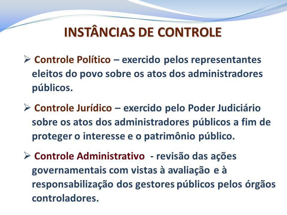 INSTÂNCIAS DE CONTROLE  Controle Político – exercido pelos representantes eleitos do povo sobre os atos dos administradores públicos.  Controle Jurí