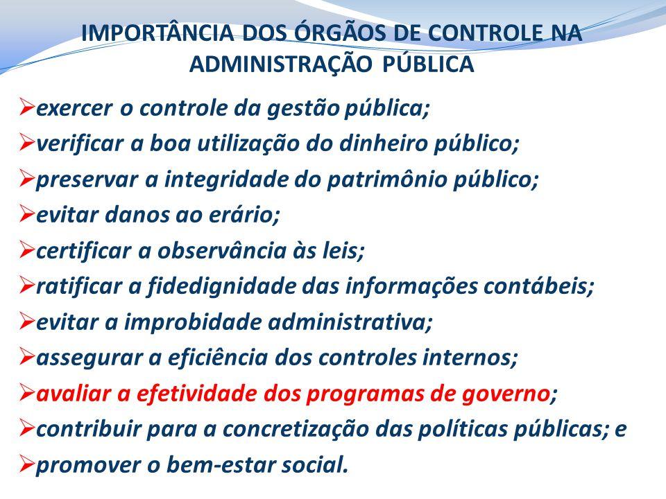 IMPORTÂNCIA DOS ÓRGÃOS DE CONTROLE NA ADMINISTRAÇÃO PÚBLICA  exercer o controle da gestão pública;  verificar a boa utilização do dinheiro público;