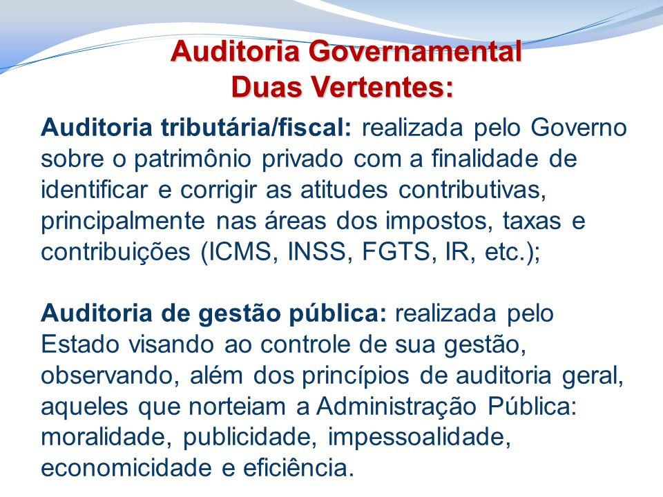 Auditoria tributária/fiscal: realizada pelo Governo sobre o patrimônio privado com a finalidade de identificar e corrigir as atitudes contributivas, p