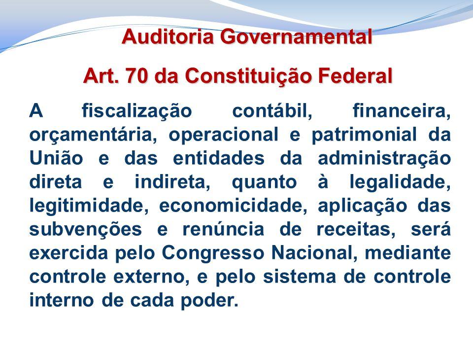 Art. 70 da Constituição Federal A fiscalização contábil, financeira, orçamentária, operacional e patrimonial da União e das entidades da administração