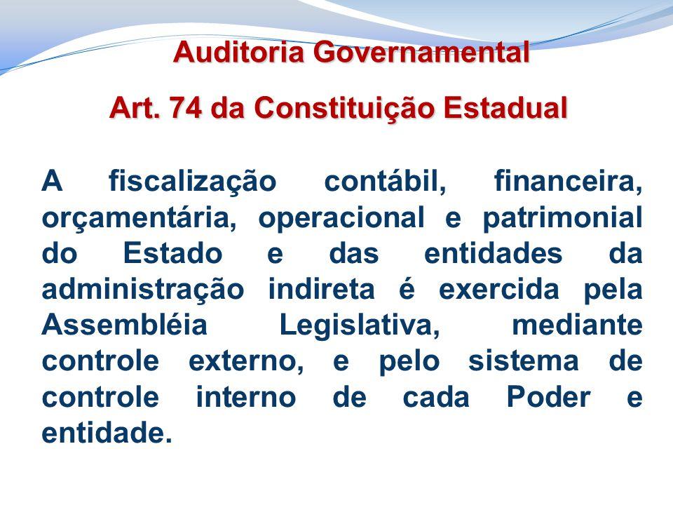 Art. 74 da Constituição Estadual A fiscalização contábil, financeira, orçamentária, operacional e patrimonial do Estado e das entidades da administraç