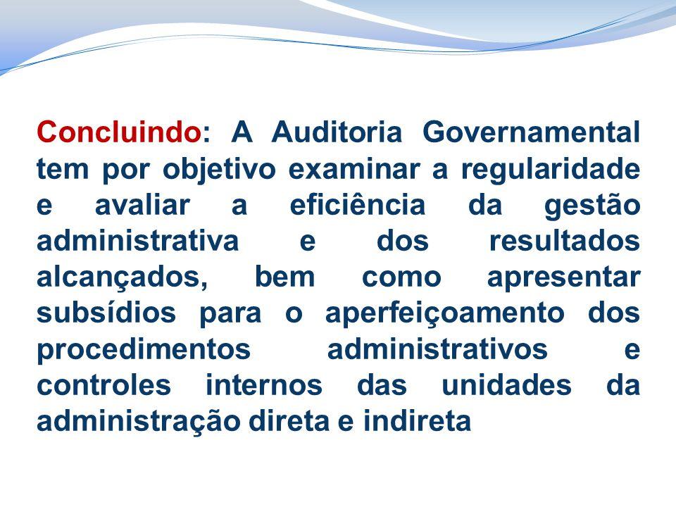 Concluindo: A Auditoria Governamental tem por objetivo examinar a regularidade e avaliar a eficiência da gestão administrativa e dos resultados alcanç