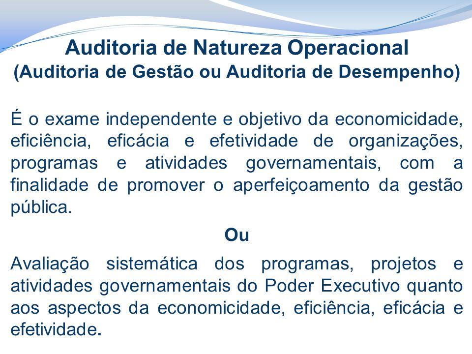 Auditoria de Natureza Operacional (Auditoria de Gestão ou Auditoria de Desempenho) É o exame independente e objetivo da economicidade, eficiência, efi