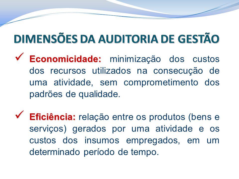 Economicidade: Economicidade: minimização dos custos dos recursos utilizados na consecução de uma atividade, sem comprometimento dos padrões de qualid