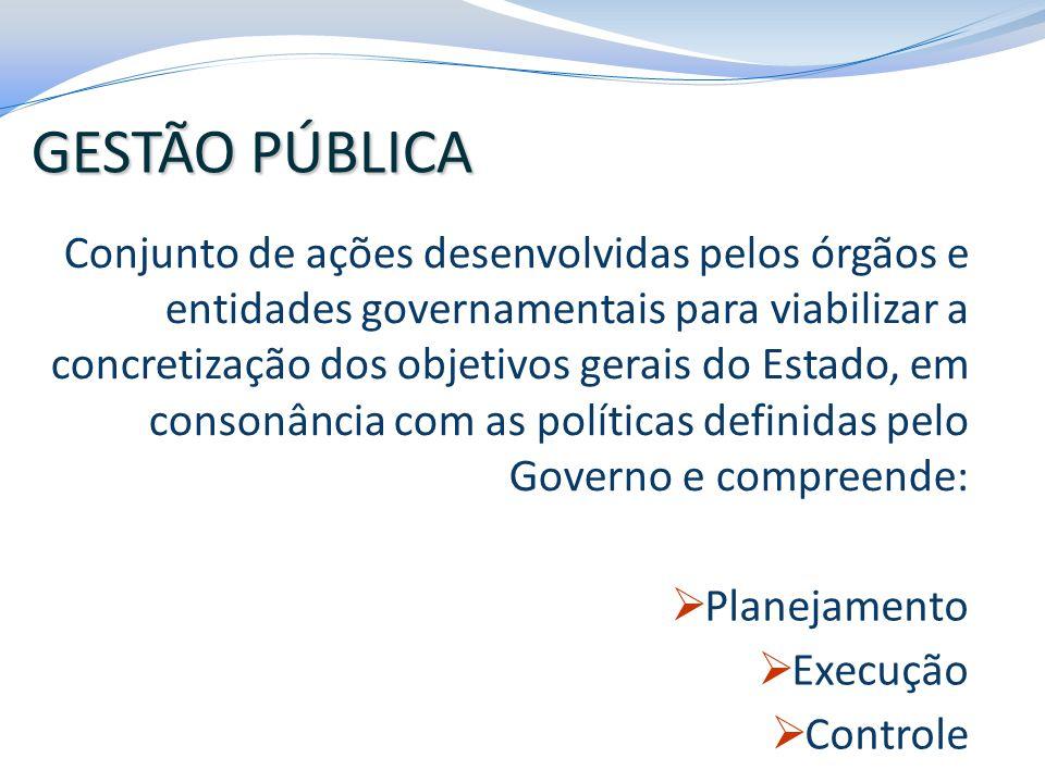 Conjunto de ações desenvolvidas pelos órgãos e entidades governamentais para viabilizar a concretização dos objetivos gerais do Estado, em consonância
