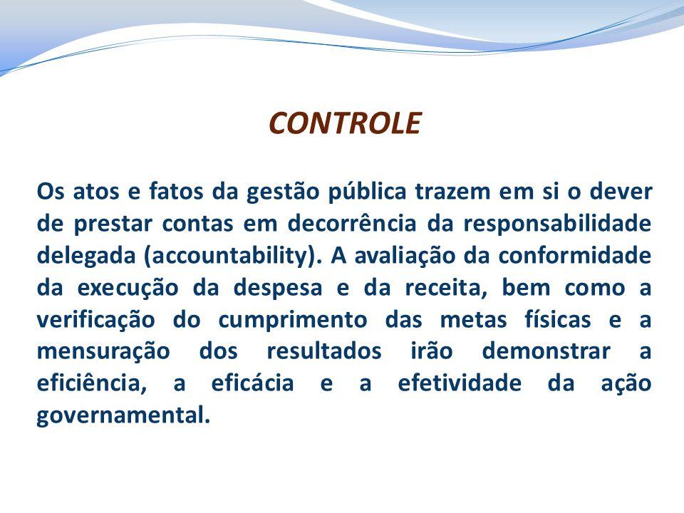 CONTROLE Os atos e fatos da gestão pública trazem em si o dever de prestar contas em decorrência da responsabilidade delegada (accountability). A aval