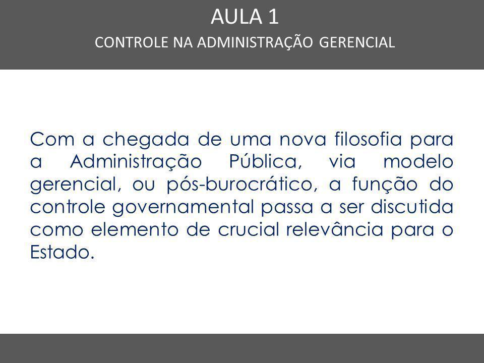 Nome do Curso em uma linha AULA 1 CONTROLE NA ADMINISTRAÇÃO GERENCIAL Com a chegada de uma nova filosofia para a Administração Pública, via modelo ger