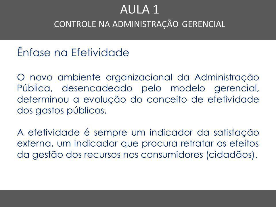 Nome do Curso em uma linha AULA 1 CONTROLE NA ADMINISTRAÇÃO GERENCIAL Ênfase na Efetividade O novo ambiente organizacional da Administração Pública, d