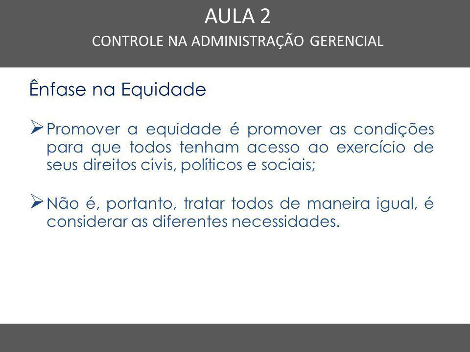 Nome do Curso em uma linha AULA 2 CONTROLE NA ADMINISTRAÇÃO GERENCIAL Ênfase na Equidade  Promover a equidade é promover as condições para que todos