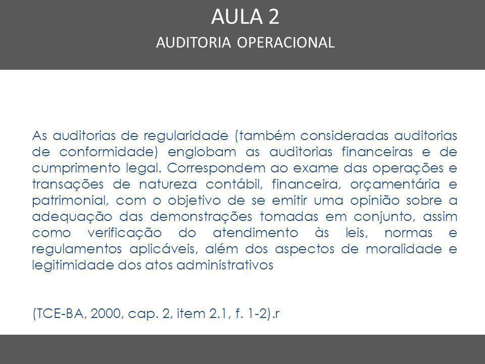 Nome do Curso em uma linha AULA 2 AUDITORIA OPERACIONAL As auditorias de regularidade (também consideradas auditorias de conformidade) englobam as aud
