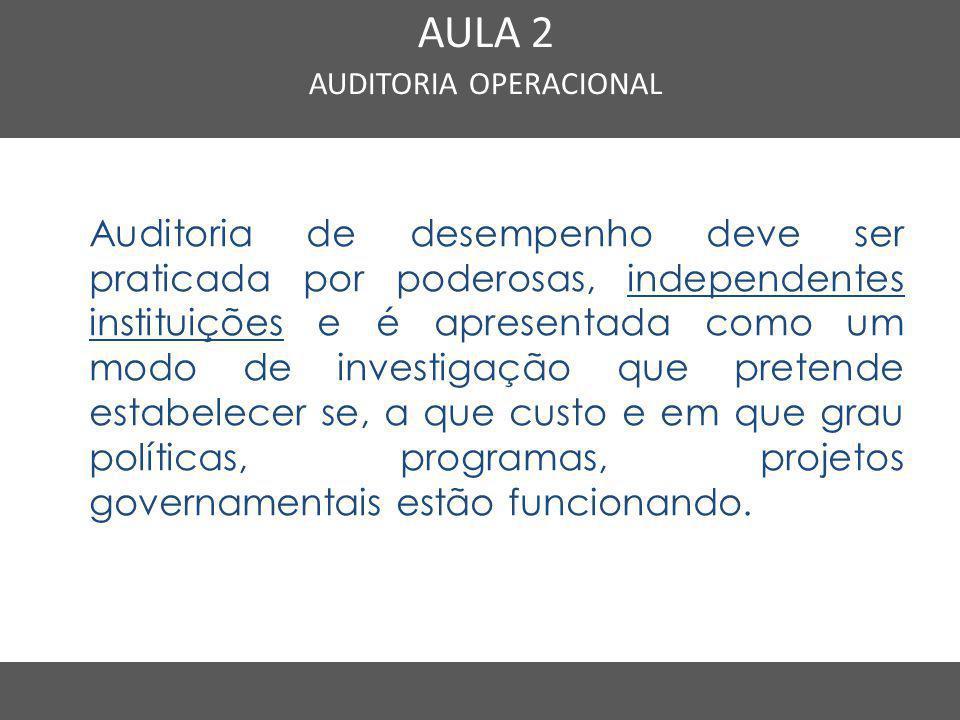 Nome do Curso em uma linha AULA 2 AUDITORIA OPERACIONAL Auditoria de desempenho deve ser praticada por poderosas, independentes instituições e é apres