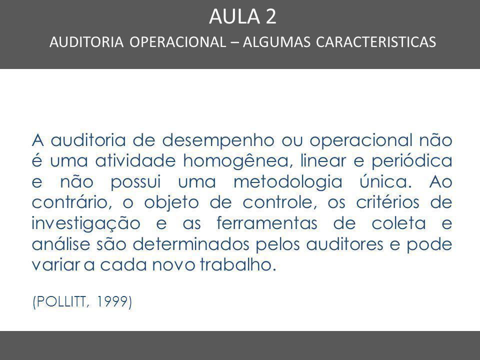 Nome do Curso em uma linha AULA 2 AUDITORIA OPERACIONAL – ALGUMAS CARACTERISTICAS A auditoria de desempenho ou operacional não é uma atividade homogên