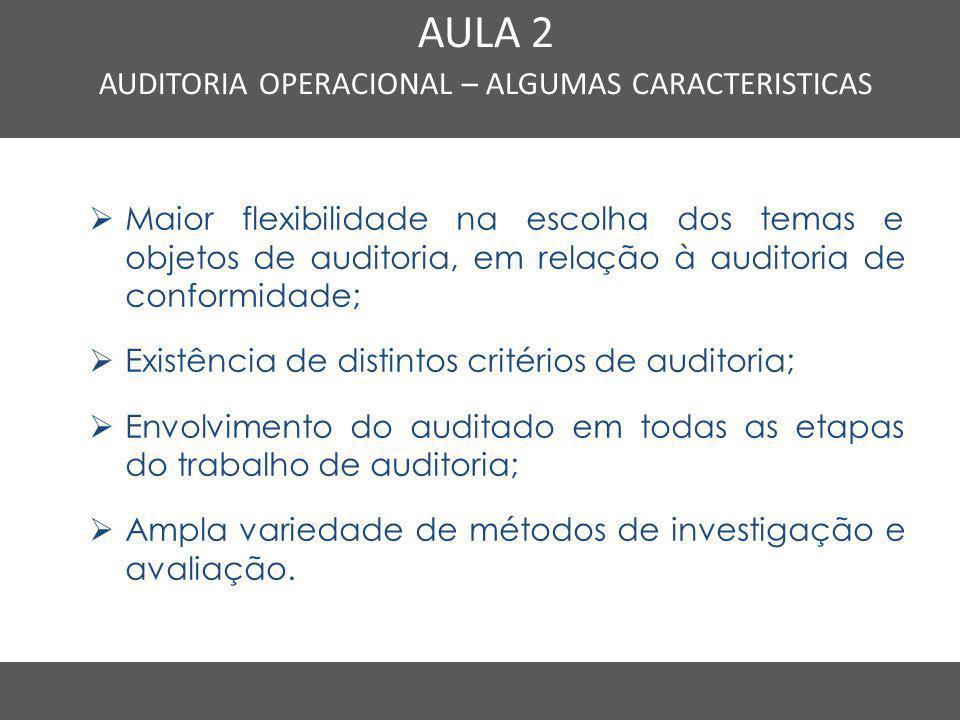 Nome do Curso em uma linha AULA 2 AUDITORIA OPERACIONAL – ALGUMAS CARACTERISTICAS  Maior flexibilidade na escolha dos temas e objetos de auditoria, e
