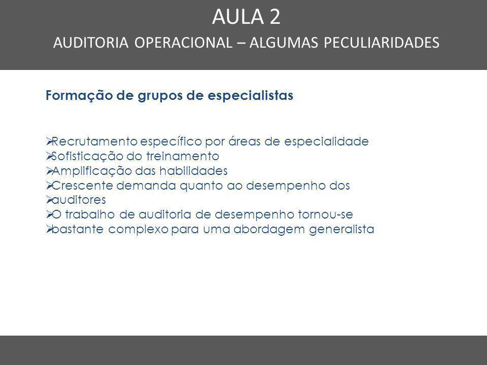 Nome do Curso em uma linha AULA 2 AUDITORIA OPERACIONAL – ALGUMAS PECULIARIDADES Formação de grupos de especialistas  Recrutamento específico por áre