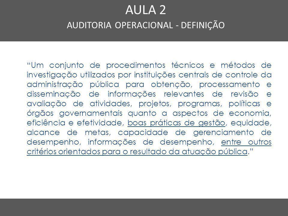"""Nome do Curso em uma linha AULA 2 AUDITORIA OPERACIONAL - DEFINIÇÃO """"Um conjunto de procedimentos técnicos e métodos de investigação utilizados por in"""