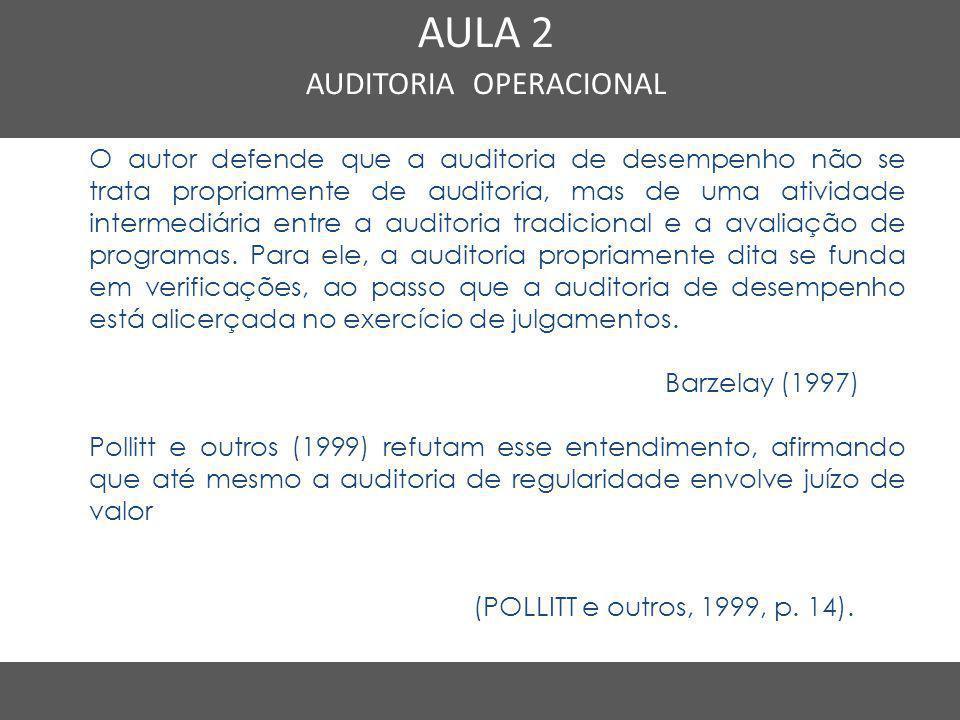 Nome do Curso em uma linha AULA 2 AUDITORIA OPERACIONAL O autor defende que a auditoria de desempenho não se trata propriamente de auditoria, mas de u