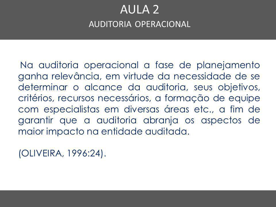 Nome do Curso em uma linha AULA 2 AUDITORIA OPERACIONAL Na auditoria operacional a fase de planejamento ganha relevância, em virtude da necessidade de