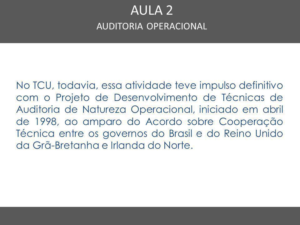 Nome do Curso em uma linha AULA 2 AUDITORIA OPERACIONAL No TCU, todavia, essa atividade teve impulso definitivo com o Projeto de Desenvolvimento de Té