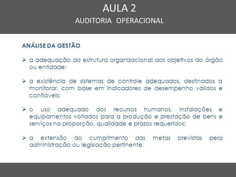 Nome do Curso em uma linha AULA 2 AUDITORIA OPERACIONAL ANÁLISE DA GESTÃO  a adequação da estrutura organizacional aos objetivos do órgão ou entidade