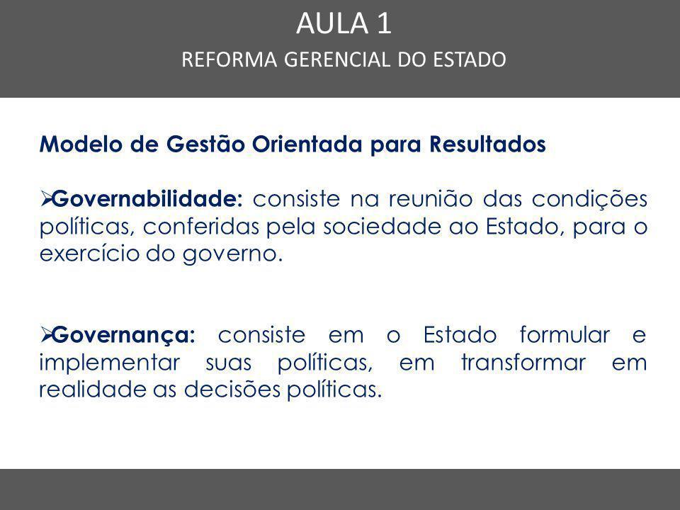 Modelo de Gestão Orientada para Resultados  Governabilidade: consiste na reunião das condições políticas, conferidas pela sociedade ao Estado, para o