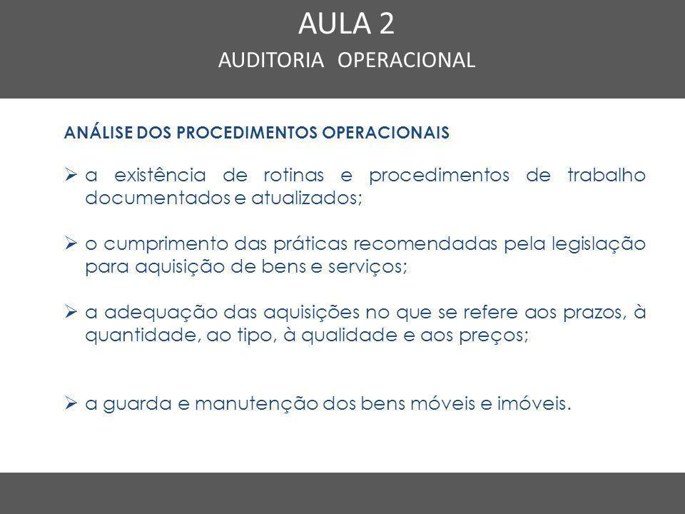 Nome do Curso em uma linha AULA 2 AUDITORIA OPERACIONAL ANÁLISE DOS PROCEDIMENTOS OPERACIONAIS  a existência de rotinas e procedimentos de trabalho d