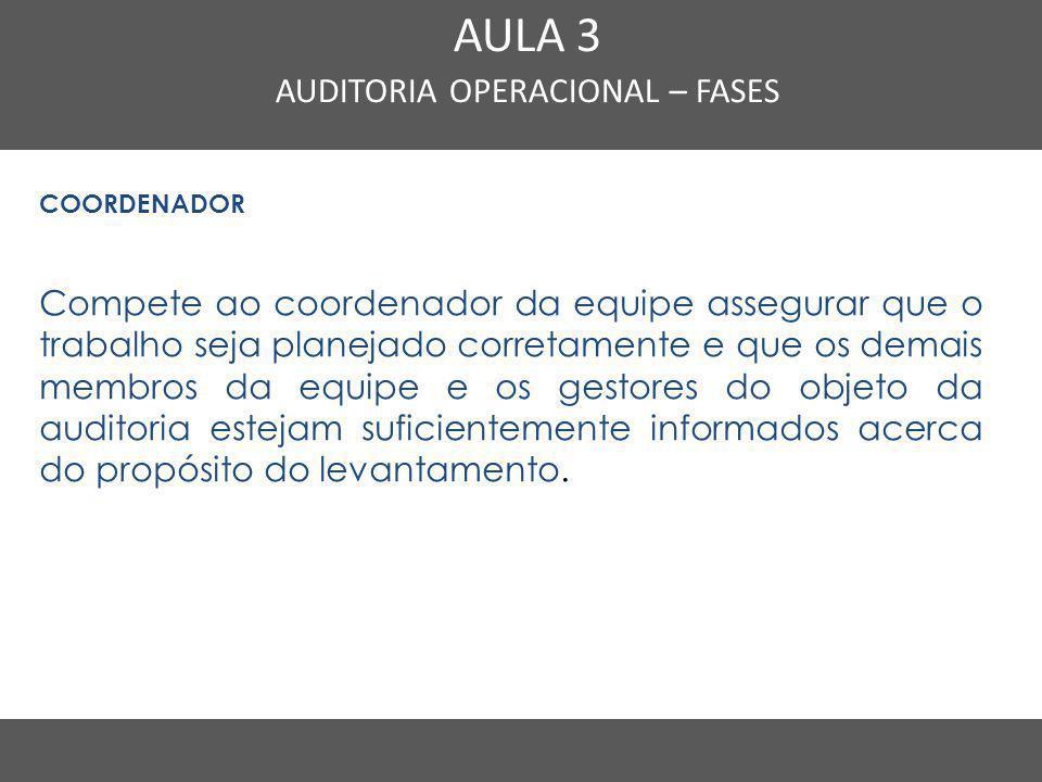 Nome do Curso em uma linha AULA 3 AUDITORIA OPERACIONAL – FASES COORDENADOR Compete ao coordenador da equipe assegurar que o trabalho seja planejado c