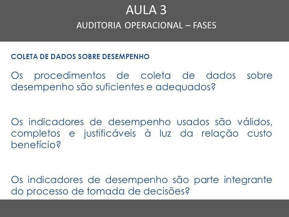 Nome do Curso em uma linha AULA 3 AUDITORIA OPERACIONAL – FASES COLETA DE DADOS SOBRE DESEMPENHO Os procedimentos de coleta de dados sobre desempenho