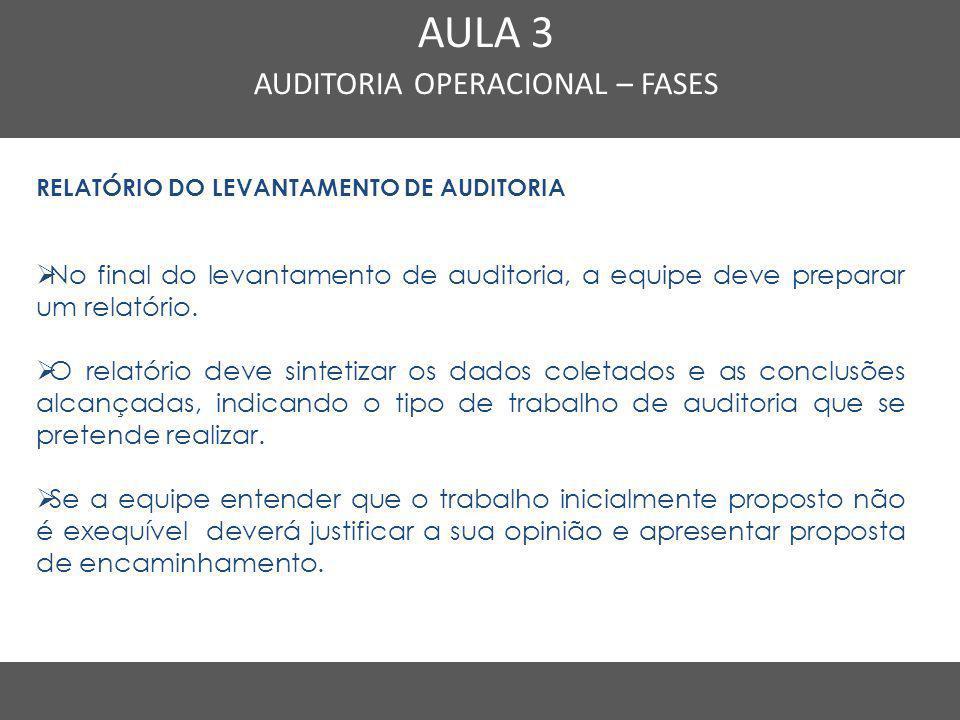 Nome do Curso em uma linha AULA 3 AUDITORIA OPERACIONAL – FASES RELATÓRIO DO LEVANTAMENTO DE AUDITORIA  No final do levantamento de auditoria, a equi