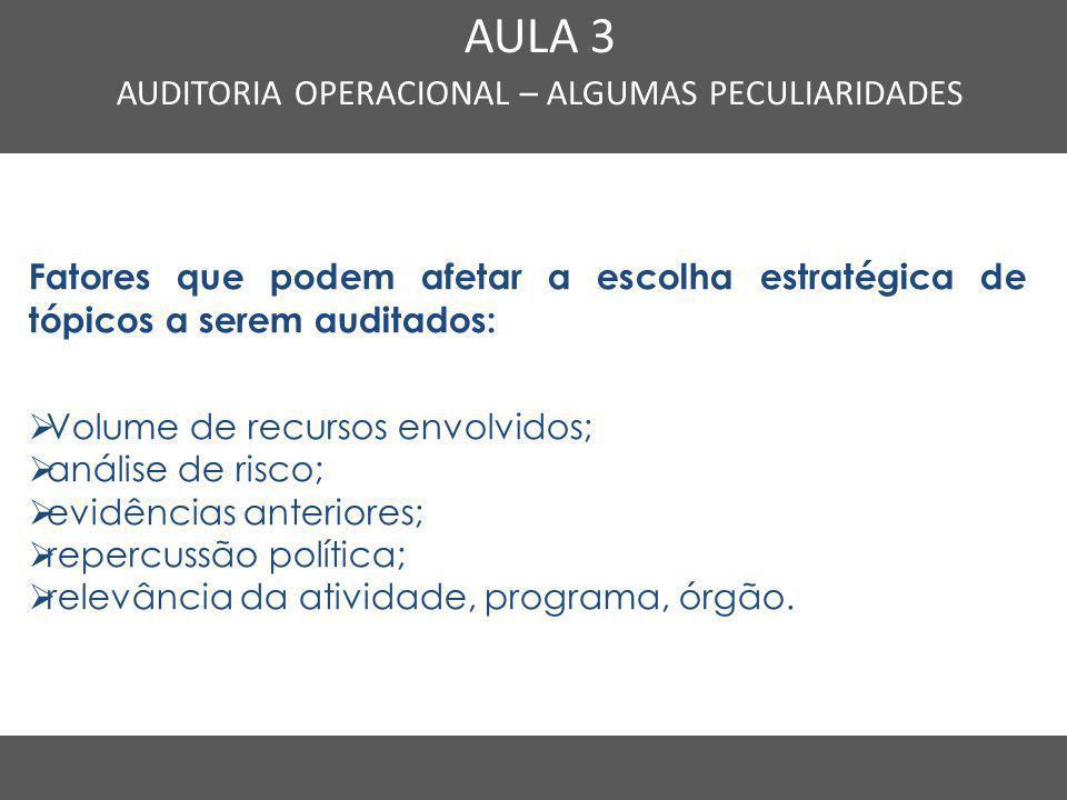 Nome do Curso em uma linha AULA 3 AUDITORIA OPERACIONAL – ALGUMAS PECULIARIDADES Fatores que podem afetar a escolha estratégica de tópicos a serem aud