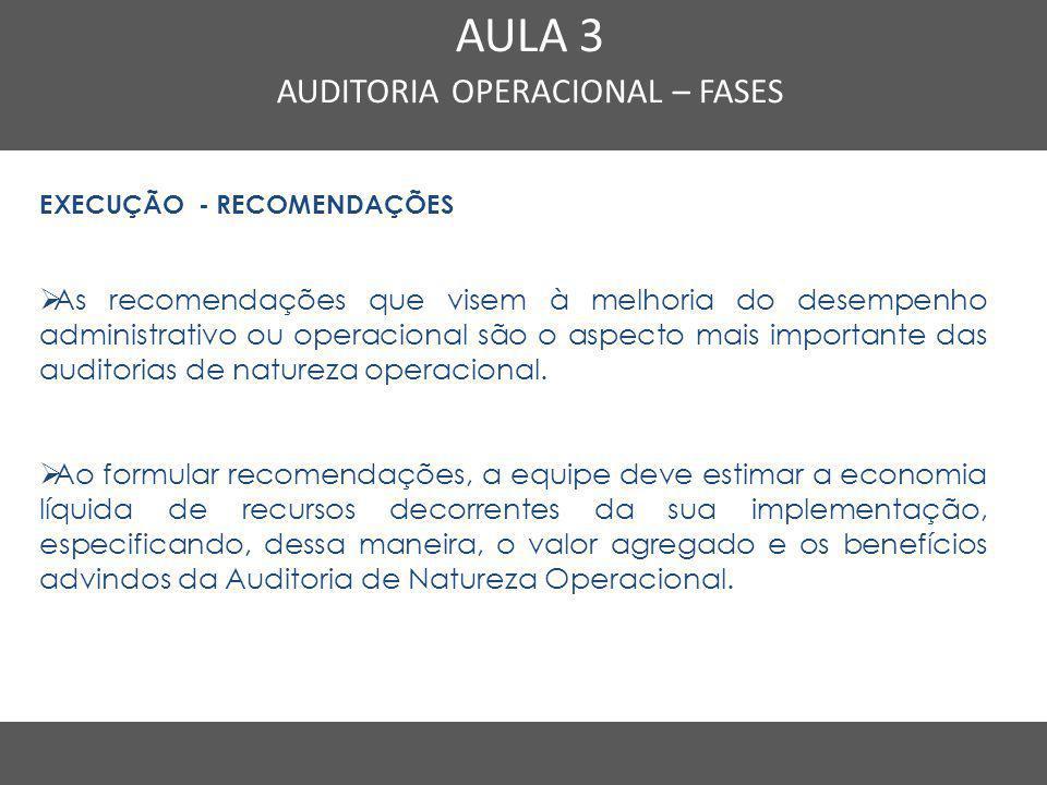 Nome do Curso em uma linha AULA 3 AUDITORIA OPERACIONAL – FASES EXECUÇÃO - RECOMENDAÇÕES  As recomendações que visem à melhoria do desempenho adminis