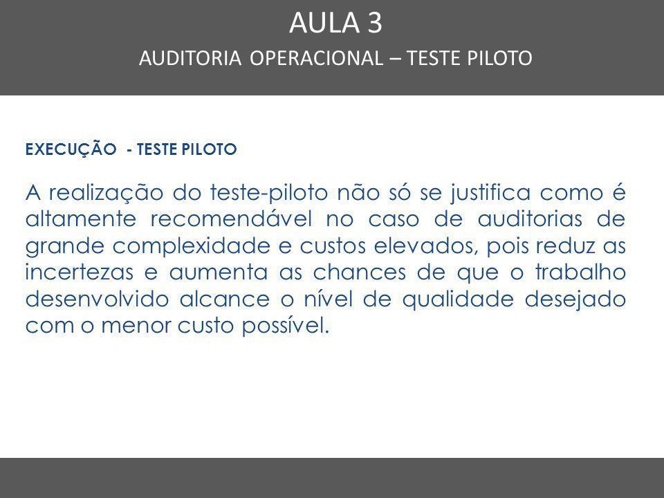 Nome do Curso em uma linha AULA 3 AUDITORIA OPERACIONAL – TESTE PILOTO EXECUÇÃO - TESTE PILOTO A realização do teste-piloto não só se justifica como é