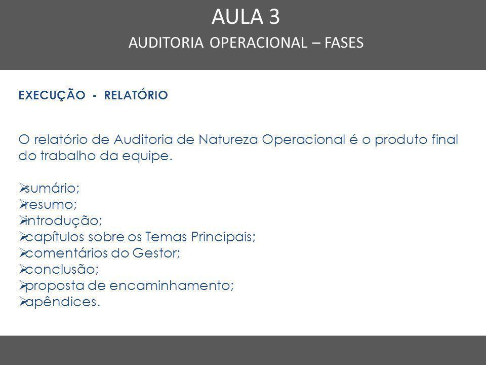 Nome do Curso em uma linha AULA 3 AUDITORIA OPERACIONAL – FASES EXECUÇÃO - RELATÓRIO O relatório de Auditoria de Natureza Operacional é o produto fina