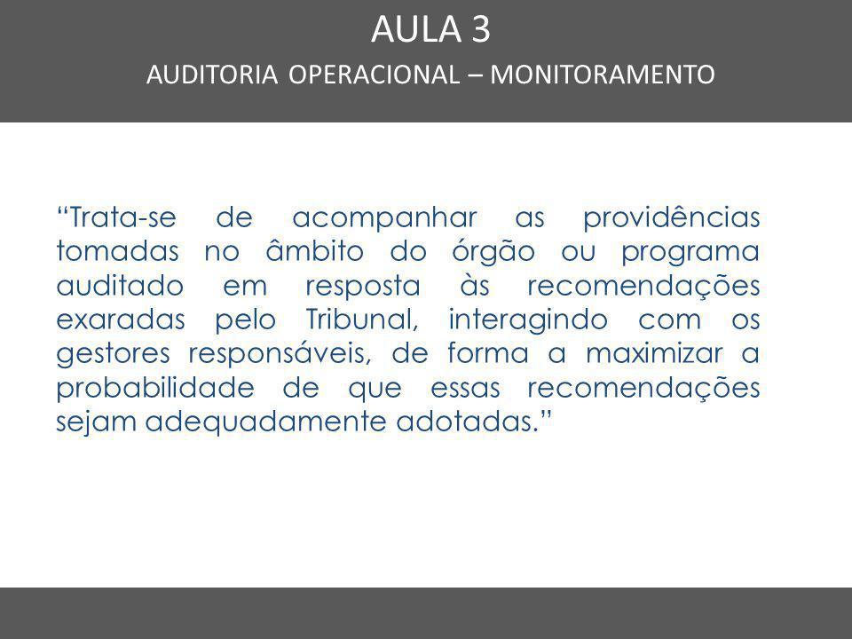 """Nome do Curso em uma linha AULA 3 AUDITORIA OPERACIONAL – MONITORAMENTO """"Trata-se de acompanhar as providências tomadas no âmbito do órgão ou programa"""
