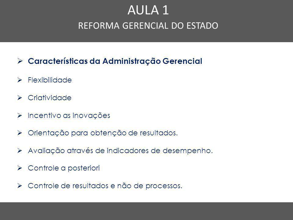  Características da Administração Gerencial  Flexibilidade  Criatividade  Incentivo as inovações  Orientação para obtenção de resultados.  Avali
