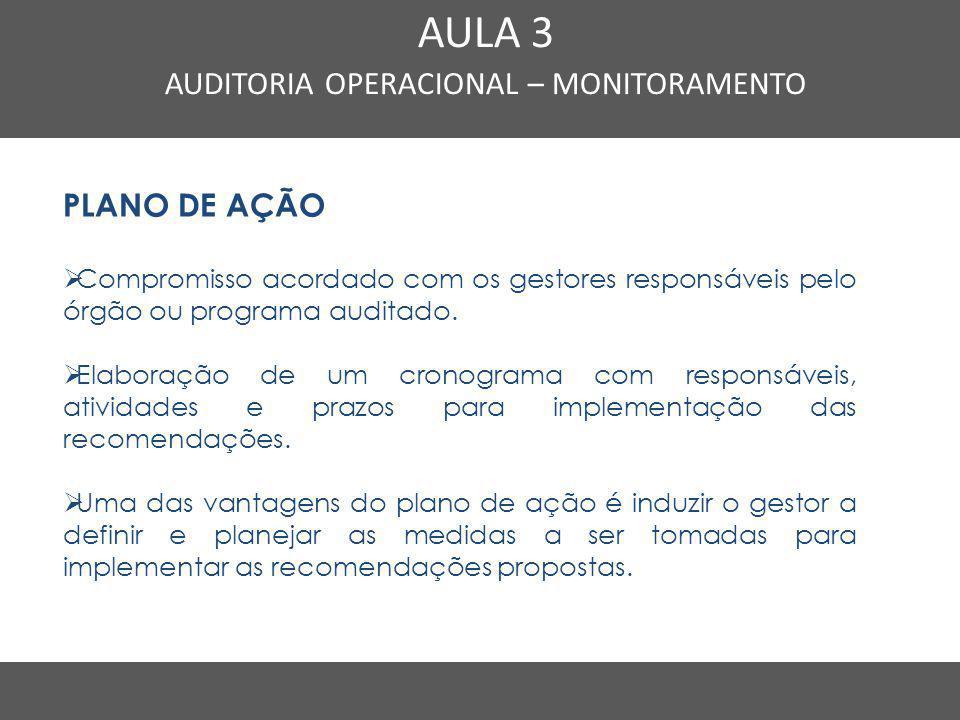 Nome do Curso em uma linha AULA 3 AUDITORIA OPERACIONAL – MONITORAMENTO PLANO DE AÇÃO  Compromisso acordado com os gestores responsáveis pelo órgão o