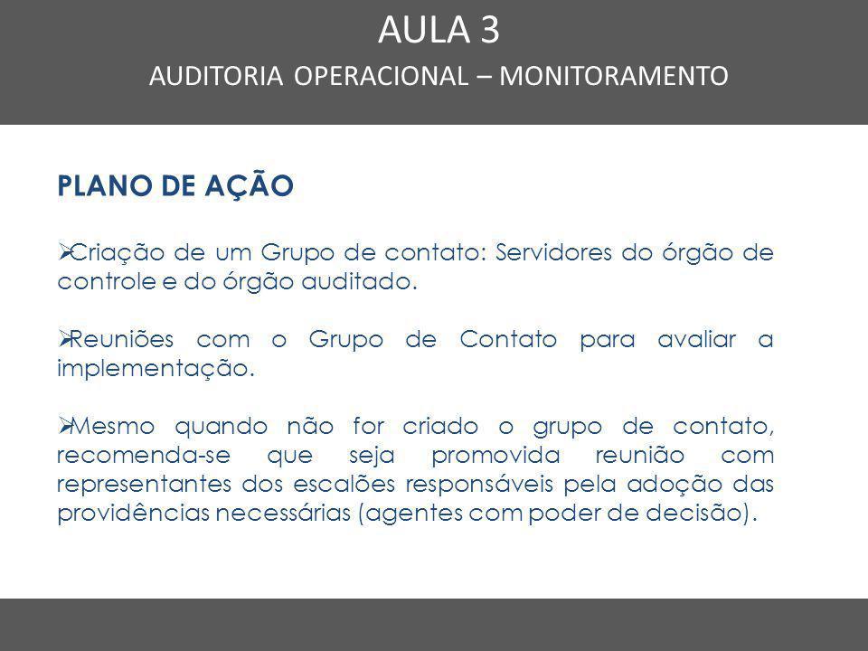 Nome do Curso em uma linha AULA 3 AUDITORIA OPERACIONAL – MONITORAMENTO PLANO DE AÇÃO  Criação de um Grupo de contato: Servidores do órgão de control