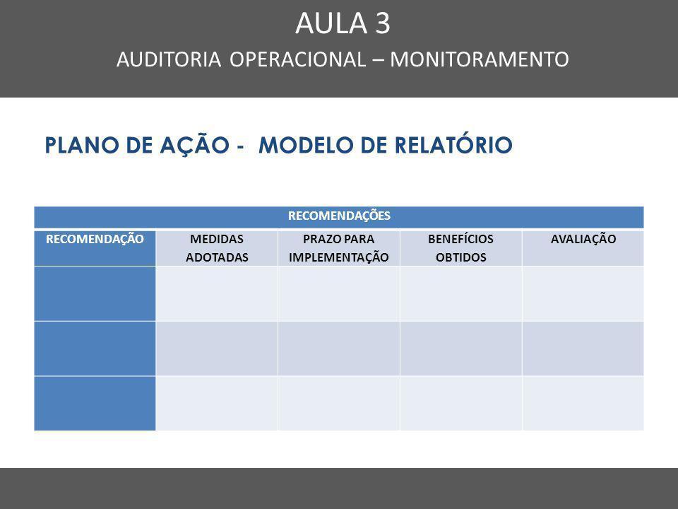 Nome do Curso em uma linha AULA 3 AUDITORIA OPERACIONAL – MONITORAMENTO PLANO DE AÇÃO - MODELO DE RELATÓRIO RECOMENDAÇÕES RECOMENDAÇÃO MEDIDAS ADOTADA