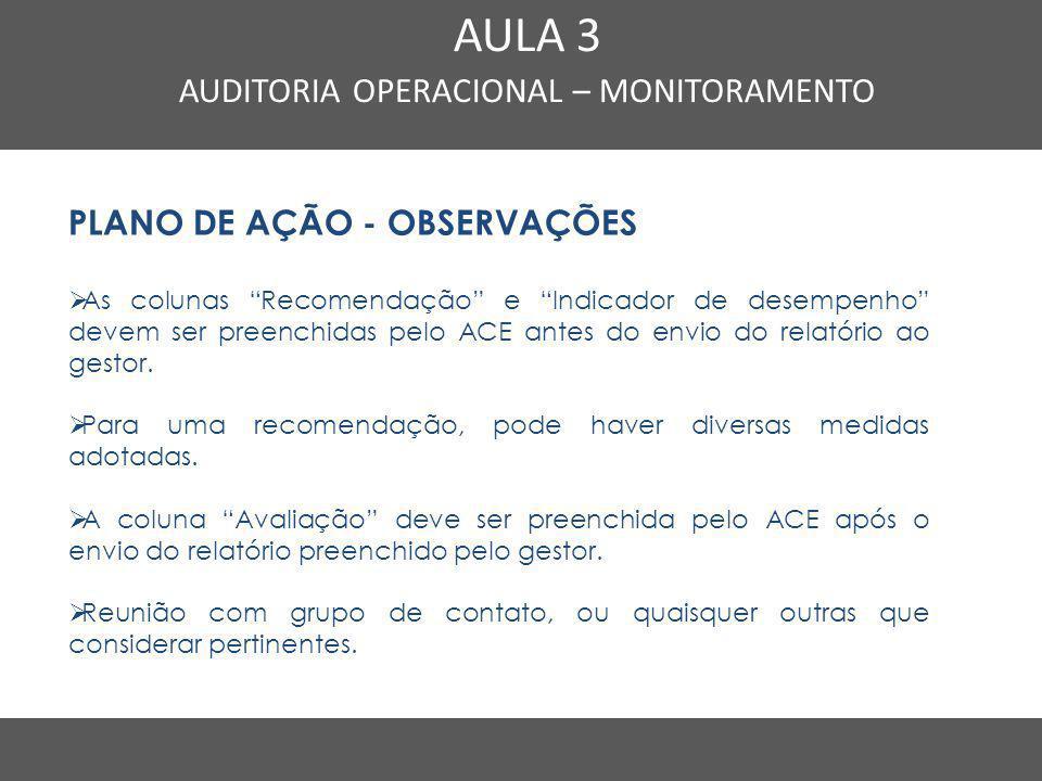 """Nome do Curso em uma linha AULA 3 AUDITORIA OPERACIONAL – MONITORAMENTO PLANO DE AÇÃO - OBSERVAÇÕES  As colunas """"Recomendação"""" e """"Indicador de desemp"""