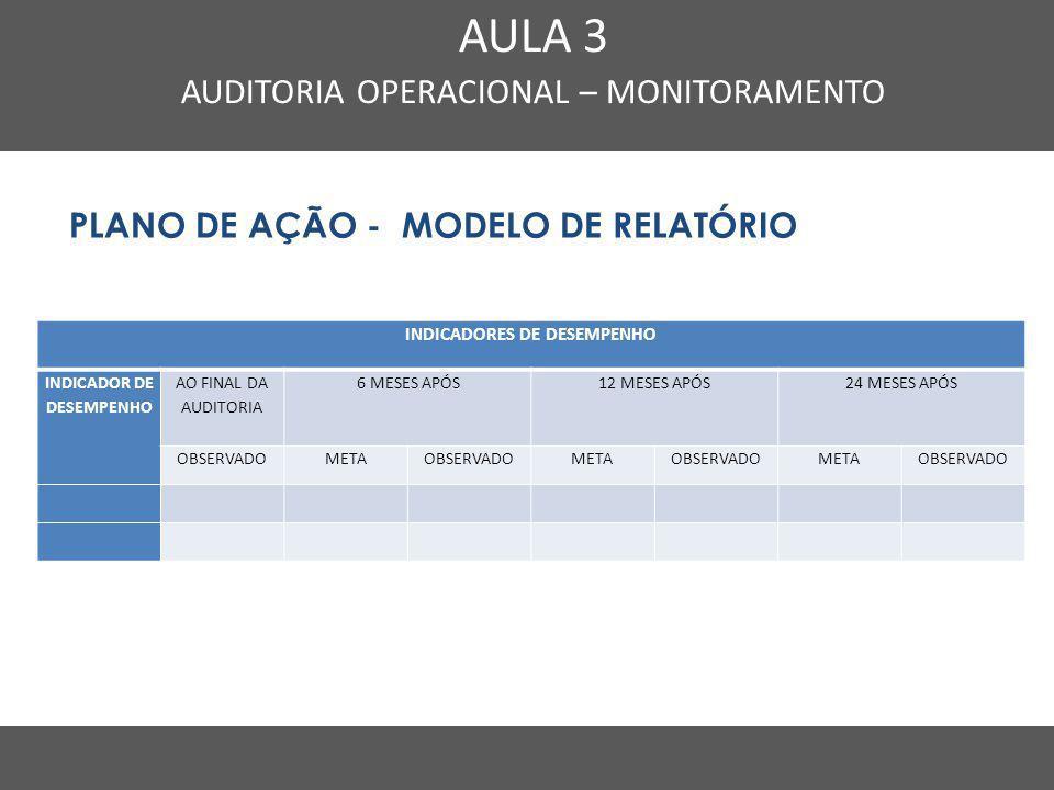 Nome do Curso em uma linha AULA 3 AUDITORIA OPERACIONAL – MONITORAMENTO PLANO DE AÇÃO - MODELO DE RELATÓRIO INDICADORES DE DESEMPENHO INDICADOR DE DES