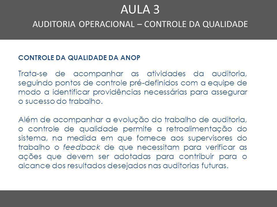 Nome do Curso em uma linha AULA 3 AUDITORIA OPERACIONAL – CONTROLE DA QUALIDADE CONTROLE DA QUALIDADE DA ANOP Trata-se de acompanhar as atividades da