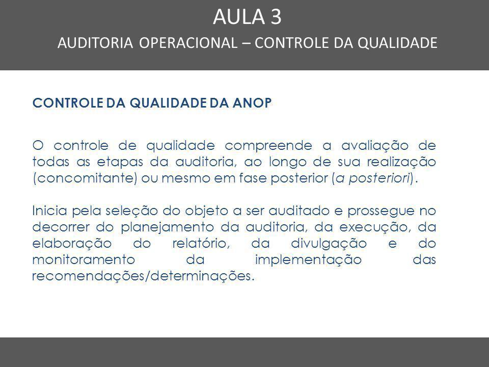 Nome do Curso em uma linha AULA 3 AUDITORIA OPERACIONAL – CONTROLE DA QUALIDADE CONTROLE DA QUALIDADE DA ANOP O controle de qualidade compreende a ava