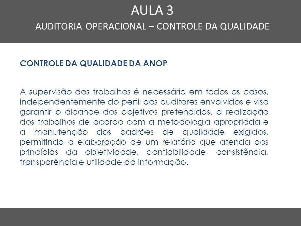 Nome do Curso em uma linha AULA 3 AUDITORIA OPERACIONAL – CONTROLE DA QUALIDADE CONTROLE DA QUALIDADE DA ANOP A supervisão dos trabalhos é necessária