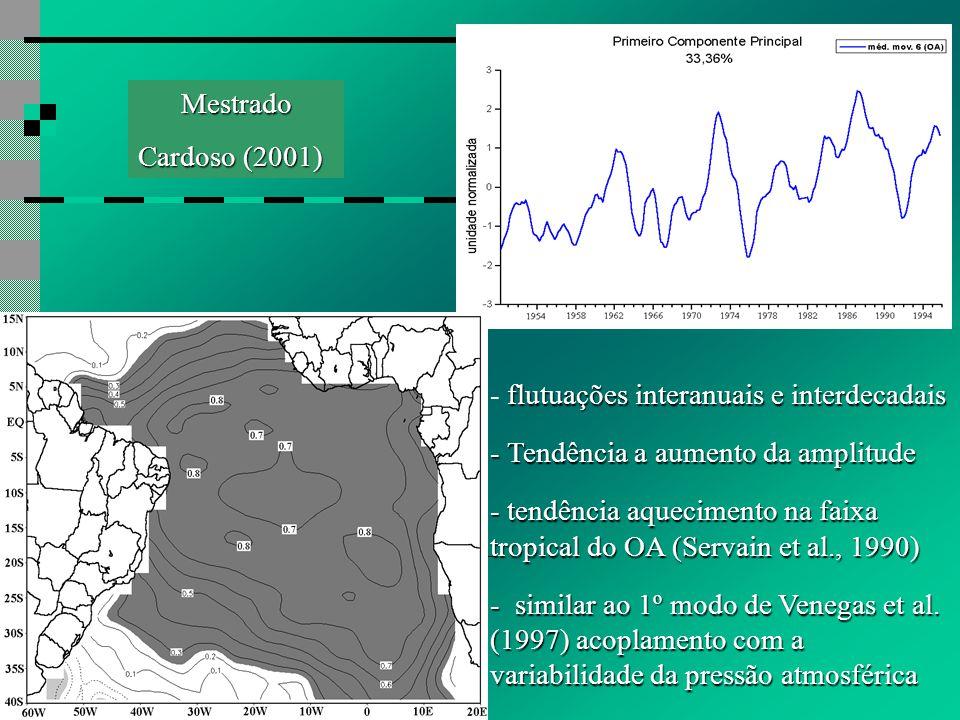 flutuações interanuais e interdecadais - flutuações interanuais e interdecadais - Tendência a aumento da amplitude - tendência aquecimento na faixa tropical do OA (Servain et al., 1990) - similar ao 1º modo de Venegas et al.