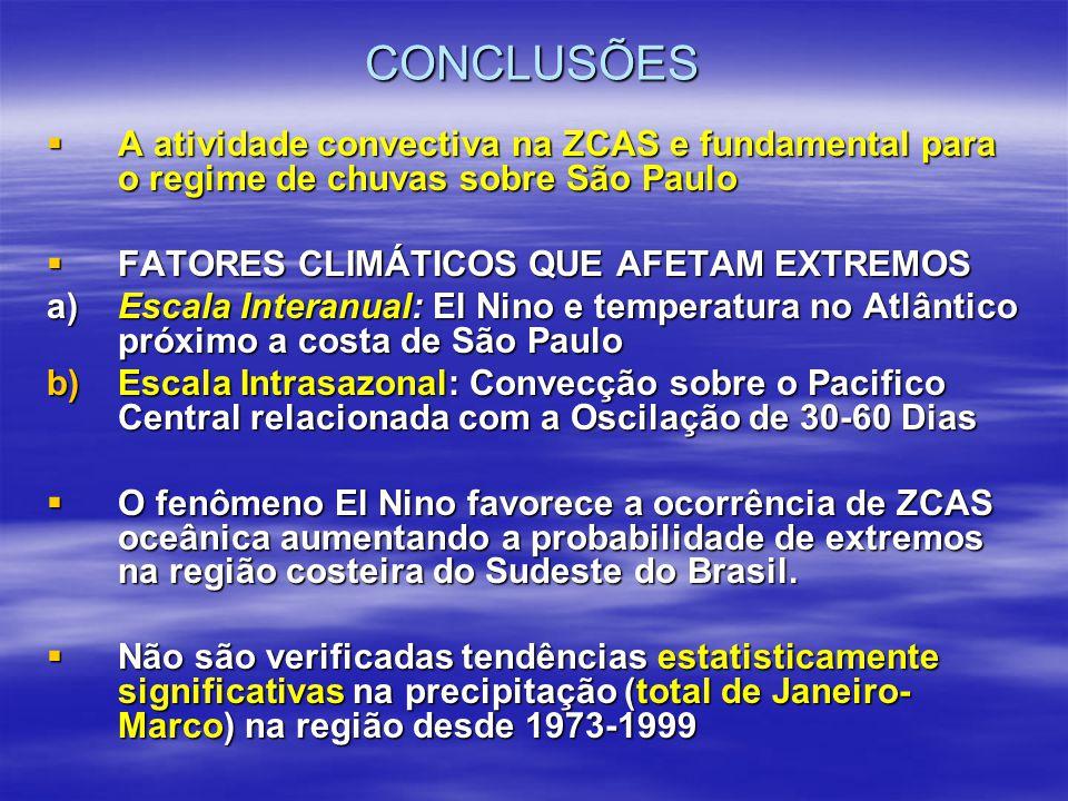 CONCLUSÕES  A atividade convectiva na ZCAS e fundamental para o regime de chuvas sobre São Paulo  FATORES CLIMÁTICOS QUE AFETAM EXTREMOS a)Escala In