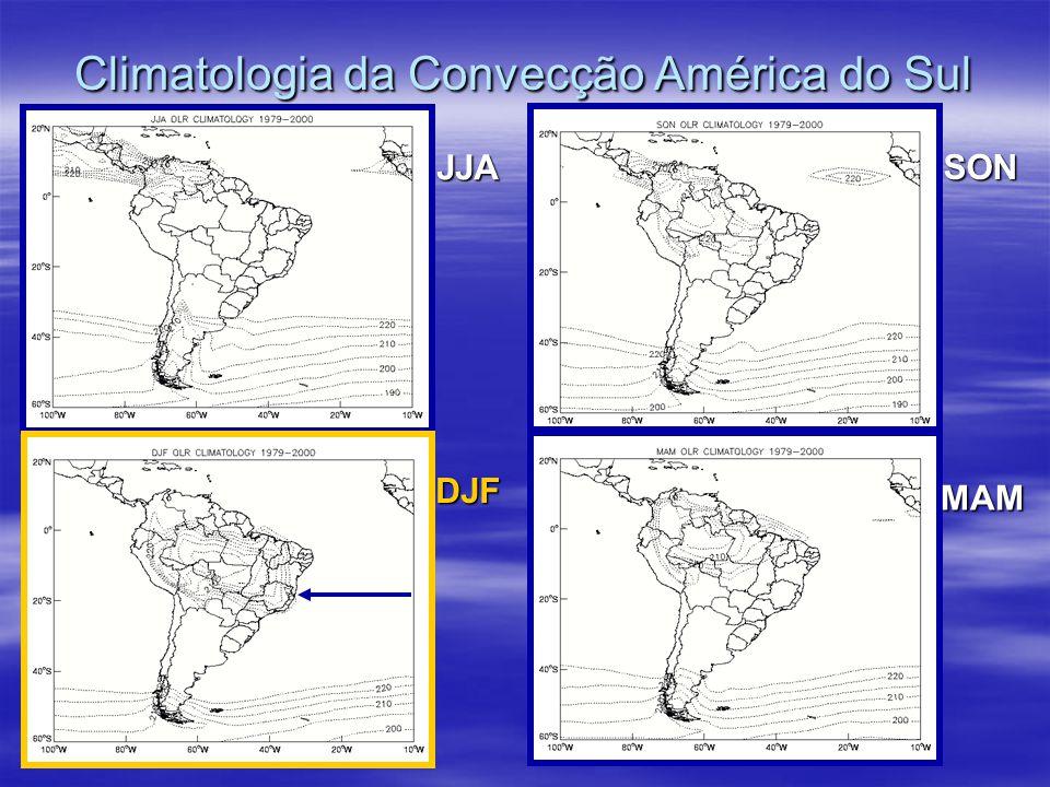 Climatologia da Convecção América do Sul JJA SON DJF MAM